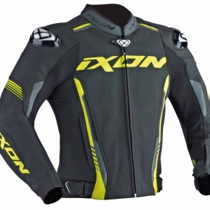 Ixon Vortex Black/Grey/Yellow Leather Jacket