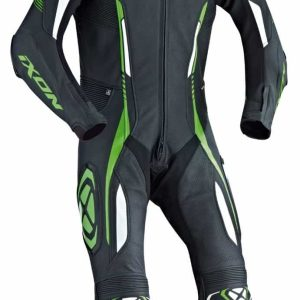 Ixon Vortex One Piece Leather Suit Black / White / Green