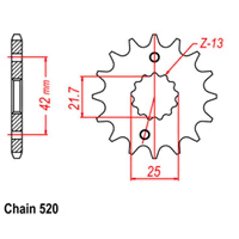 Front Sprocket – Steel 14T 520P D/D