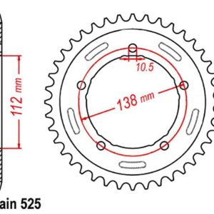 Rear Sprocket – Steel 41T 525P