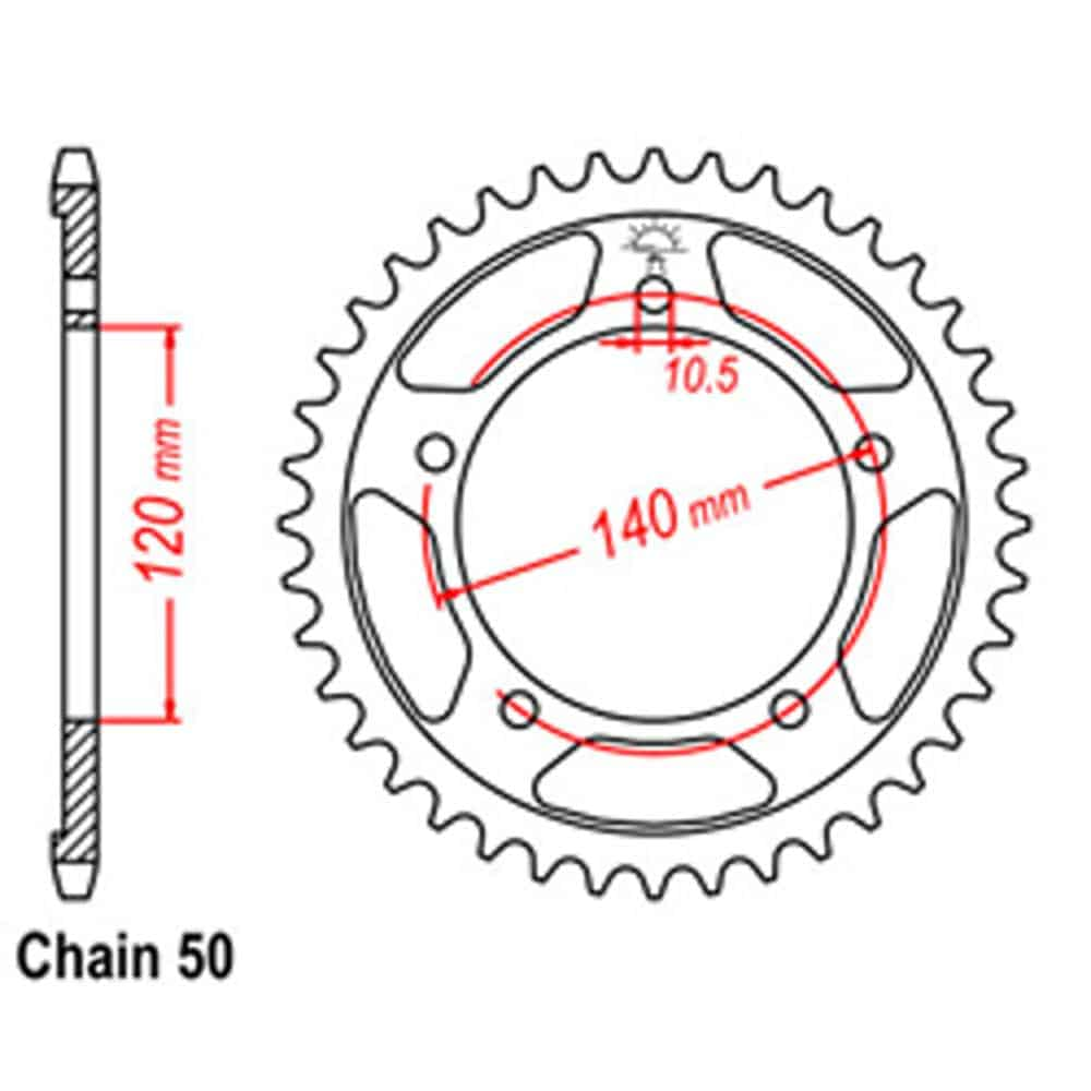 Rear Sprocket – Steel 44T 530P