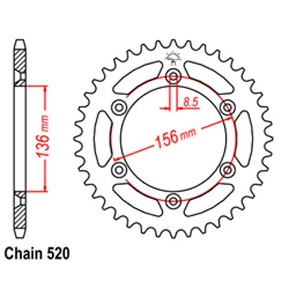 Rear Sprocket – Steel 47T 520P