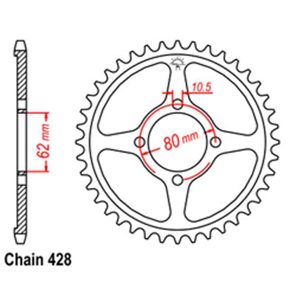 Rear Sprocket – Steel 49T 428P