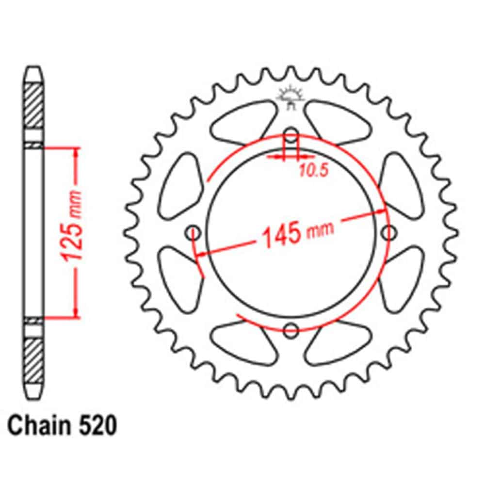 Rear Sprocket – Steel 45T 520P