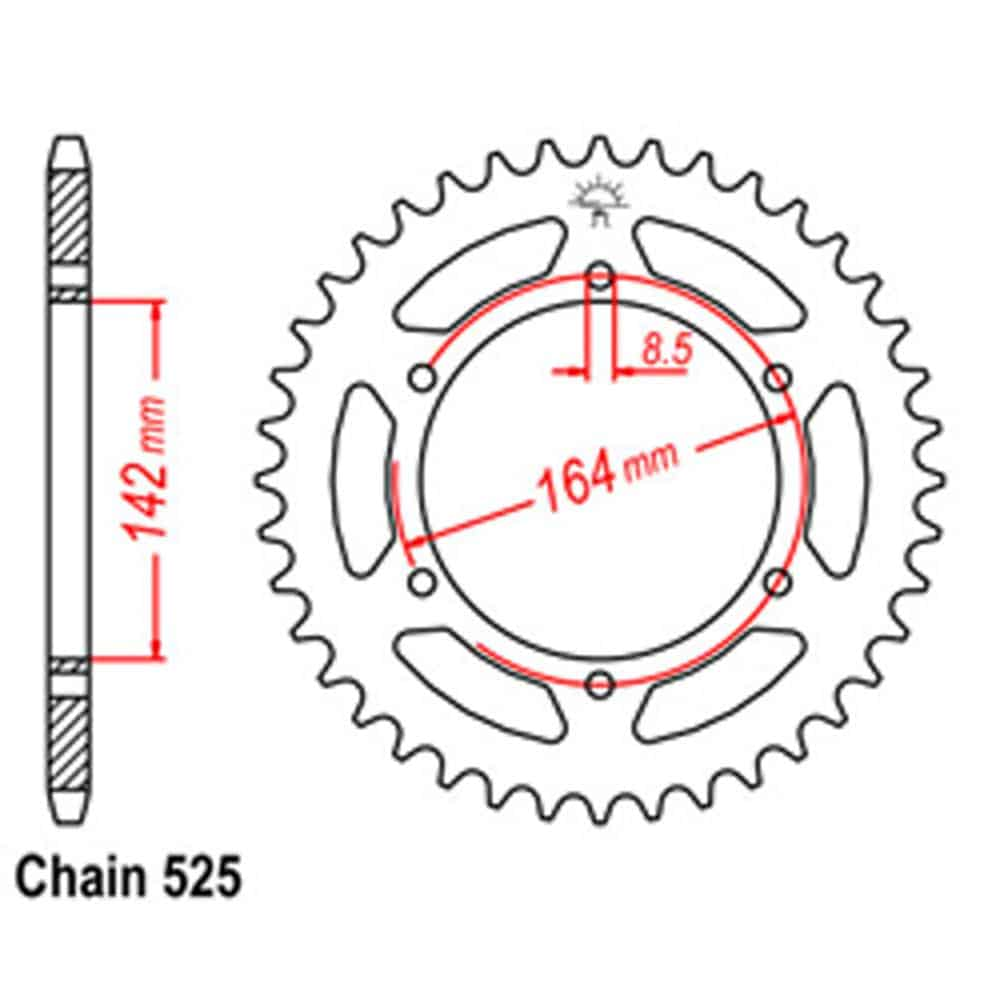 Rear Sprocket – Steel 44T 525P