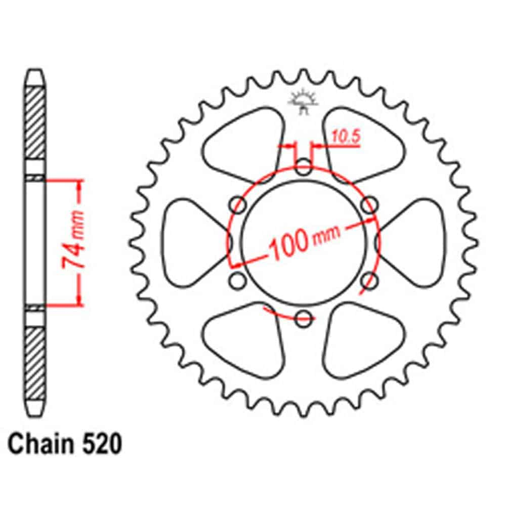 Rear Sprocket – Steel 46T 520P