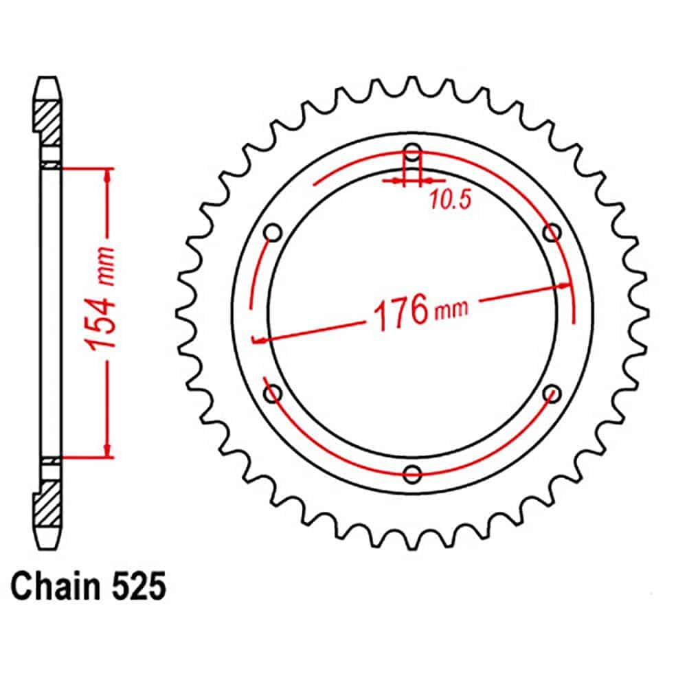 Rear Sprocket – Steel 43T 525P