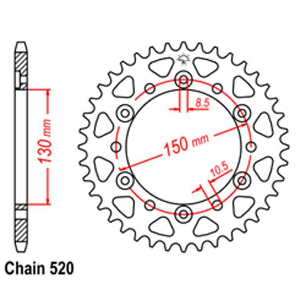 Rear Sprocket – Steel 46T 520P D/D