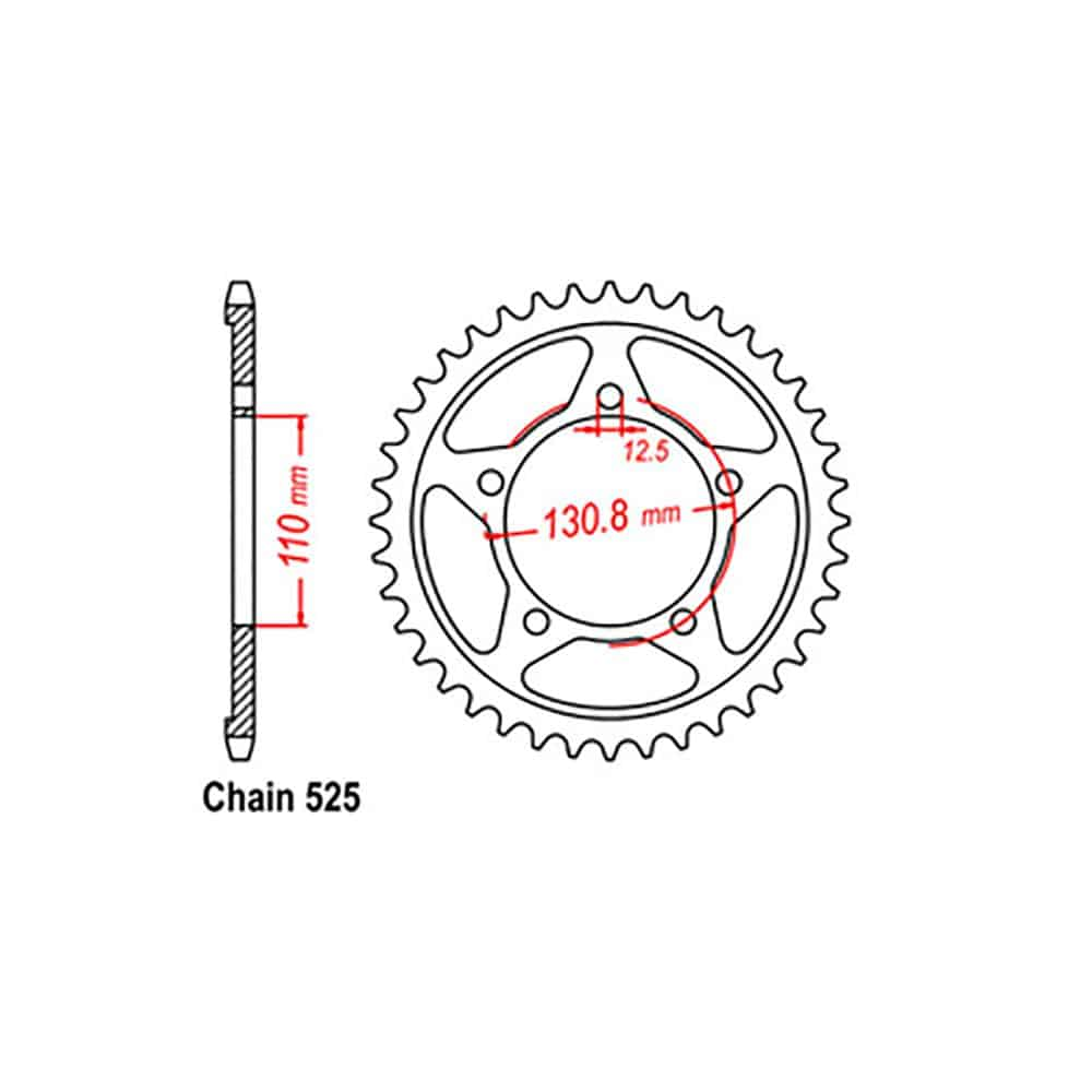 Rear Sprocket – Steel 45T 525P