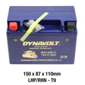 Dynavolt Battery AGM FA GEL: 12Volt 12Ah: MG14ZS-C or GTZ14S