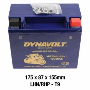 Dyanvolt Battery- AGM FA GEL: 12Volt 20Ah: MG20HL-BS-C/GTX20L-BS