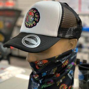 TLG's UFlex Snap Back Trucker Cap Black & White Mesh